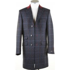 Navy Tweed Coat with Velvet Collar