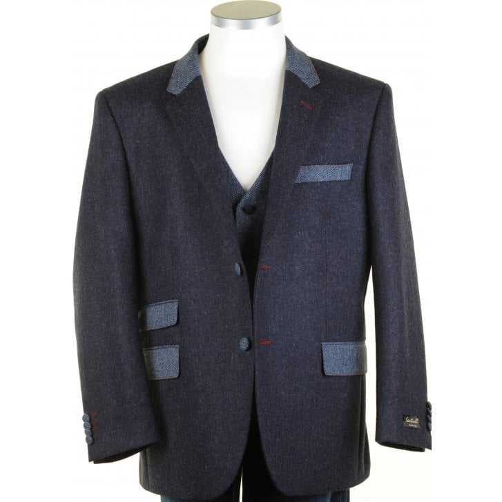 SANTINELLI Pure Shetland Wool Blue Tweed Jacket in Moon Cloth