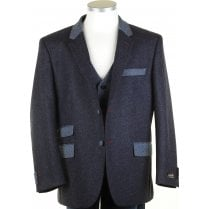 Pure Shetland Wool Blue Tweed Jacket in Moon Cloth