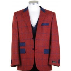 Pure Shetland Wool Red Tweed Jacket with Blue Overcheck