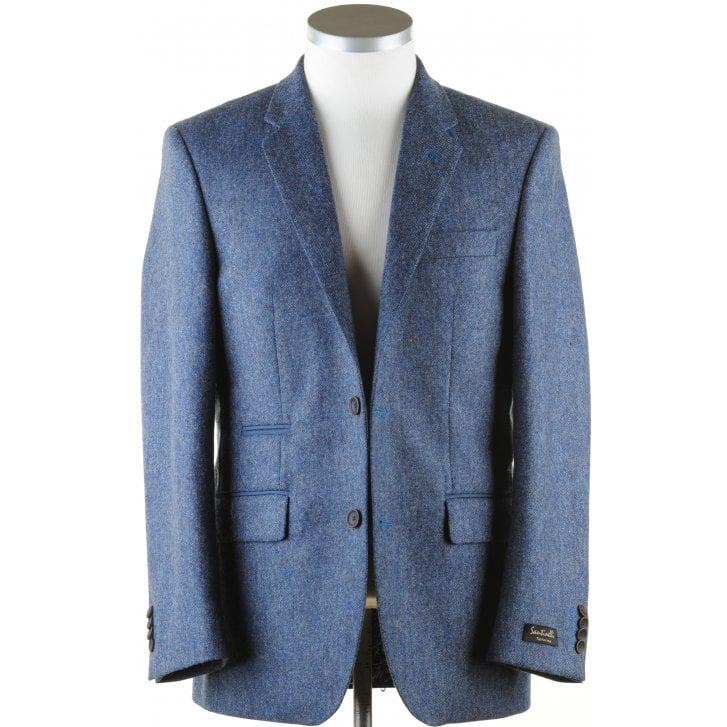 SANTINELLI Pure Wool Blue Tweed Jacket with Collar Tab