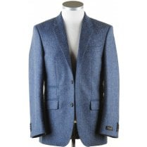 Pure Wool Blue Tweed Jacket with Collar Tab