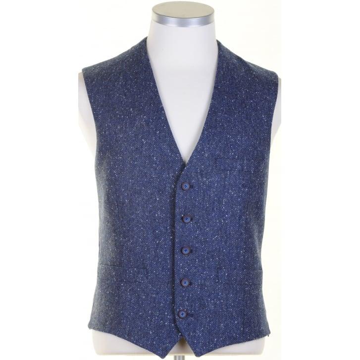 SANTINELLI Pure Wool Blue Tweed Waistcoat