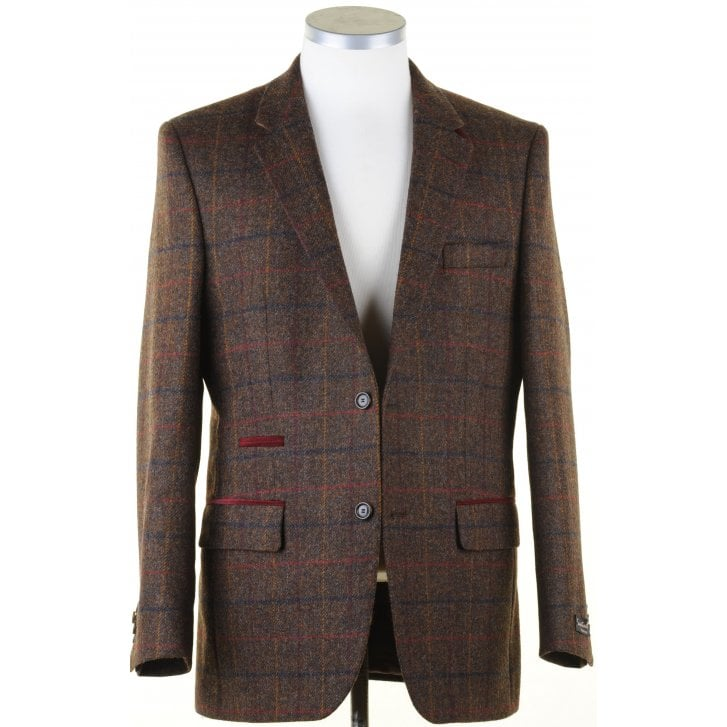 SANTINELLI Pure Wool Brown Tweed Jacket in a Moon Shetland Style Cloth