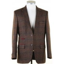 Pure Wool Brown Tweed Jacket in a Moon Shetland Style Cloth