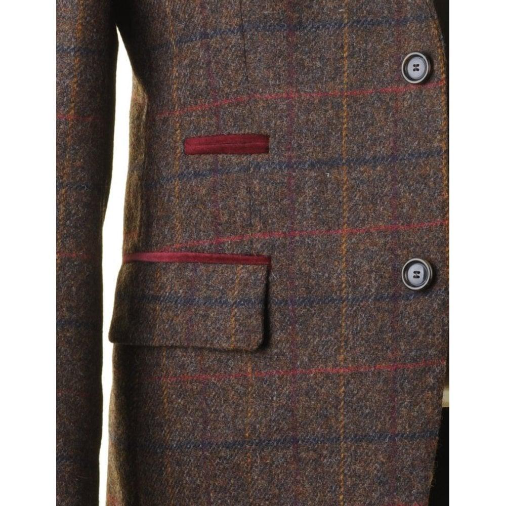 c517f8db6224 ... SANTINELLI Pure Wool Brown Tweed Jacket in a Moon Shetland Style Cloth  ...