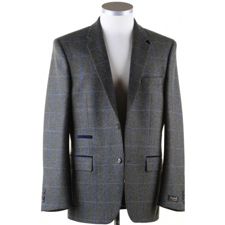 SANTINELLI Pure Wool Green Tweed Jacket in a Shetland Style Cloth
