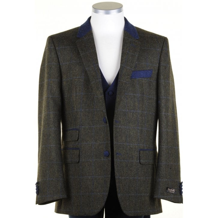 SANTINELLI Pure Wool Green Tweed Jacket with Blue Overcheck