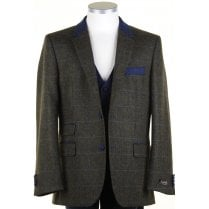 Pure Wool Green Tweed Jacket with Blue Overcheck