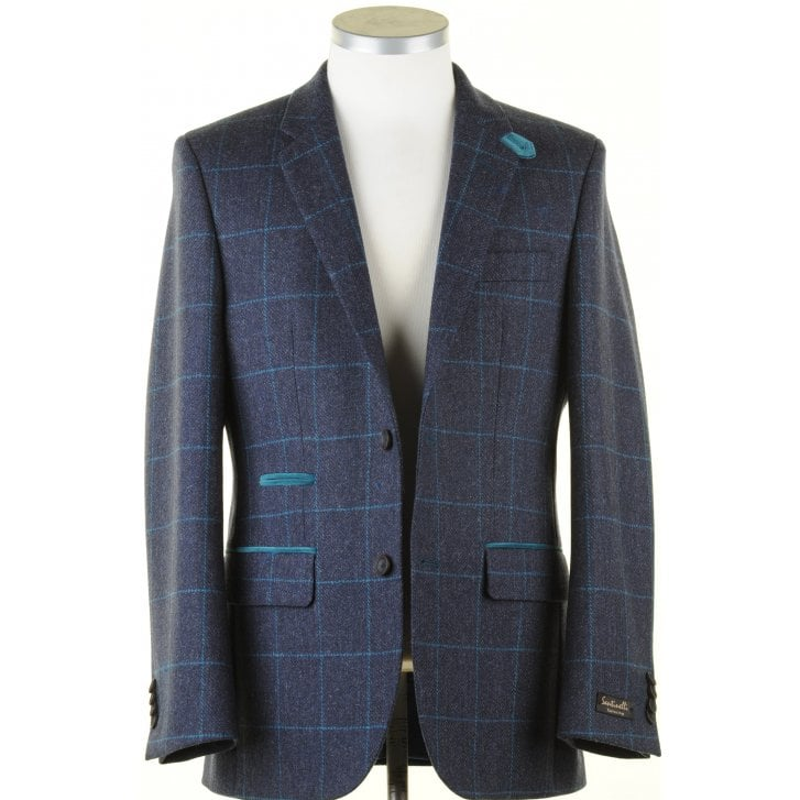 SANTINELLI Pure Wool Jacket in a Navy Shetland Style with Teal Overcheck