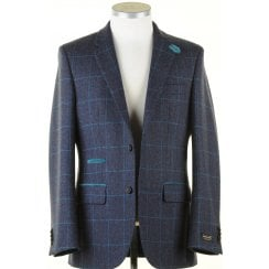 Pure Wool Jacket in a Navy Shetland Style with Teal Overcheck