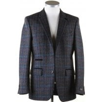 Pure Wool Navy Tweed Jacket in a Moon Shetland Style Cloth