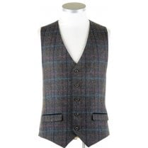Pure Wool Navy Tweed Waistcoat in a Moon Cloth