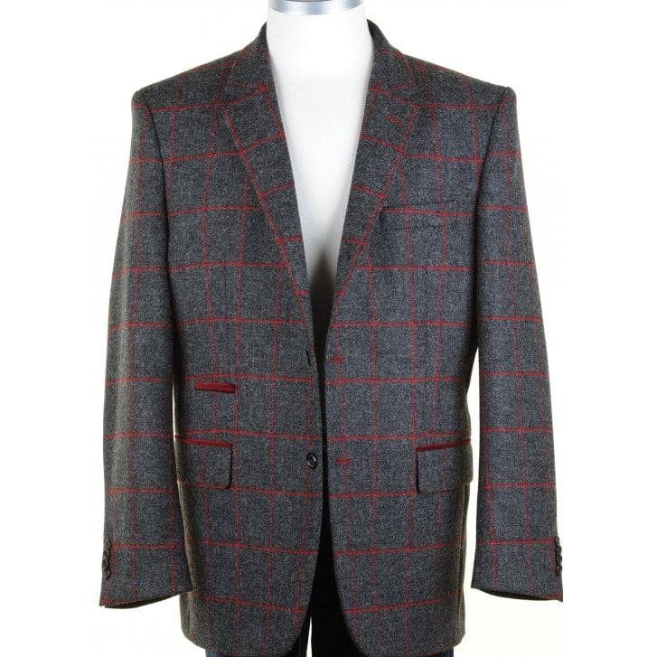 SANTINELLI Shetland Wool GreyTweed Jacket with a Red Overcheck