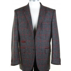 Shetland Wool GreyTweed Jacket with a Red Overcheck