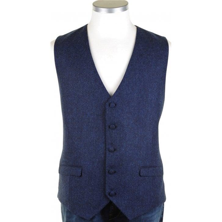 SANTINELLI Shetland Wool Moon Cloth Blue Waistcoat