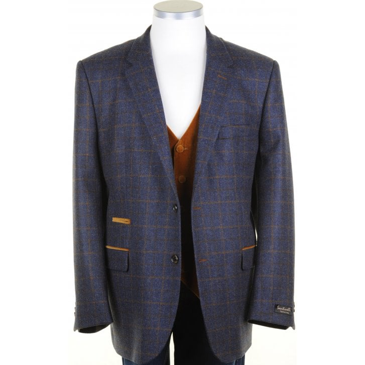 SANTINELLI Wool and Cashmere Blue Tweed Jacket with Fawn Overcheck