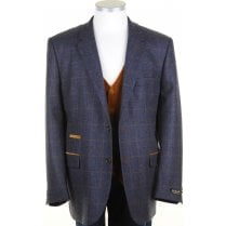 Wool and Cashmere Blue Tweed Jacket with Fawn Overcheck