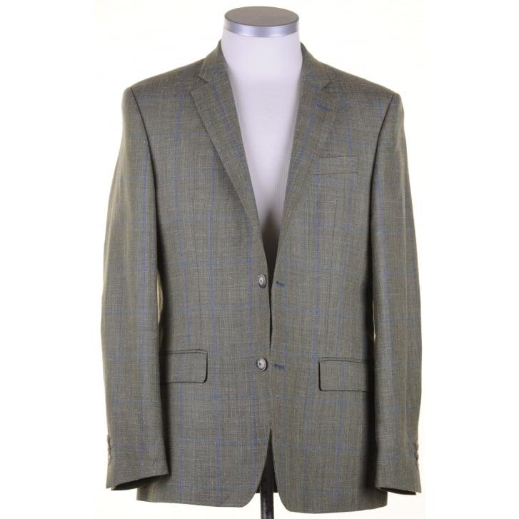 SANTINELLI Wool, Silk, and Linen Reid & Taylor Cloth Green Summer Jacket
