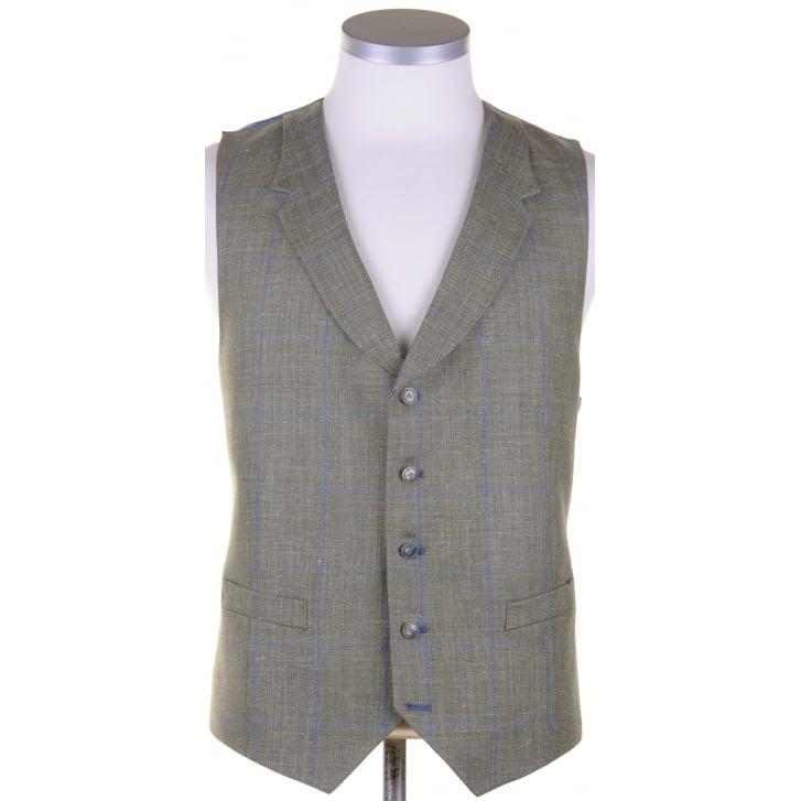 SANTINELLI Wool, Silk, and Linen Reid & Taylor Cloth Green Summer Waistcoat