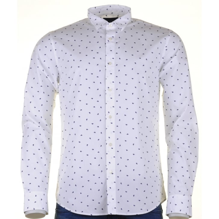 SCOTCH & SODA Fashioned Cotton White Shirt  with a Neat Print