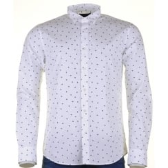 Fashioned Cotton White Shirt  with a Neat Print