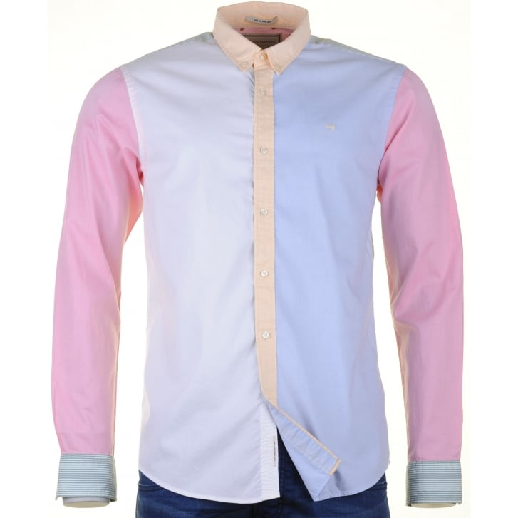 SCOTCH & SODA Fine Oxford Cotton Panelled Shirt