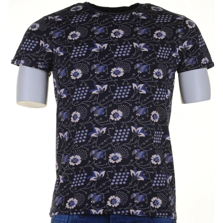SCOTCH & SODA Floral Print Cotton Round Neck T Shirt