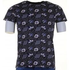 Floral Print Cotton Round Neck T Shirt