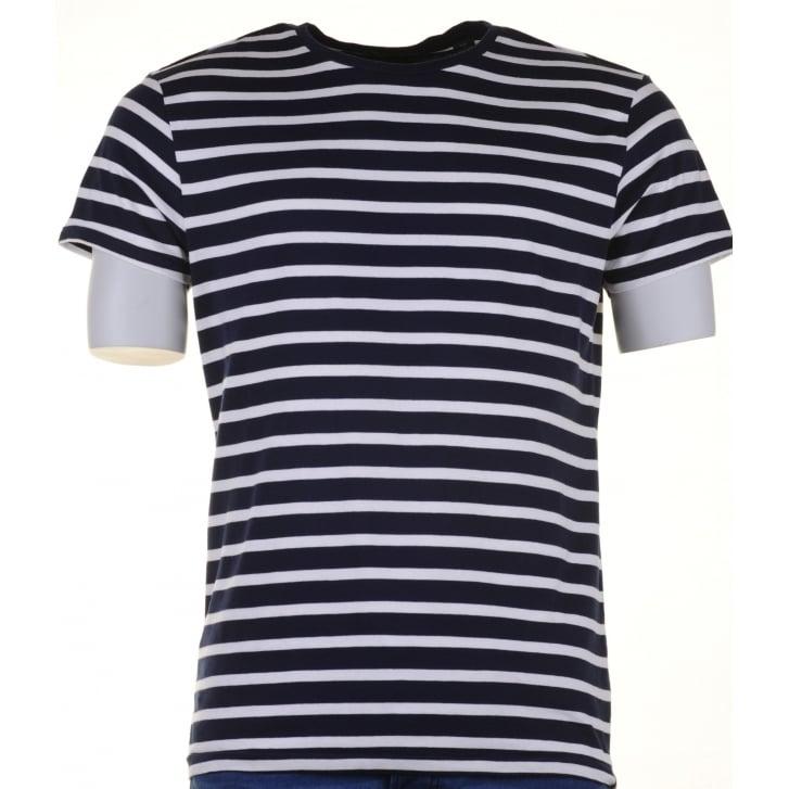 SCOTCH & SODA Navy and WhiteRound Neck Striped Cotton T Shirt