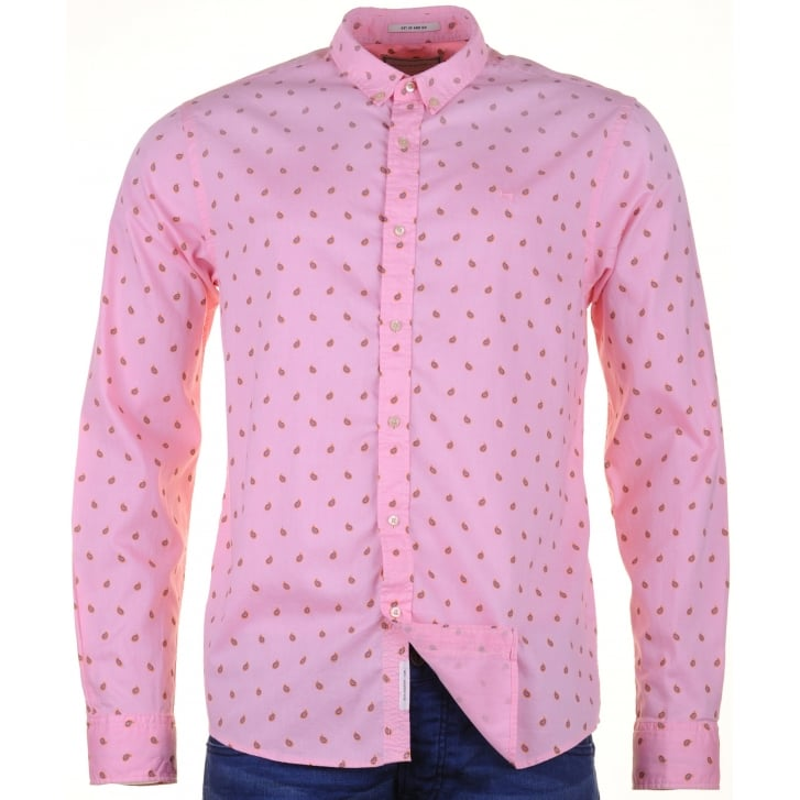 SCOTCH & SODA Pink Cotton Fine Oxford Patterned Shirt
