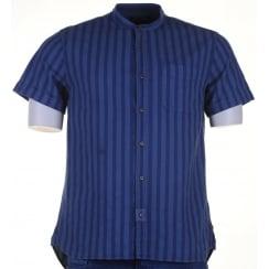 Short Sleeved Cotton Collarless Shirt