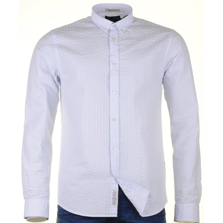 SCOTCH & SODA Seersucker Blue and White Striped Cotton Shirt