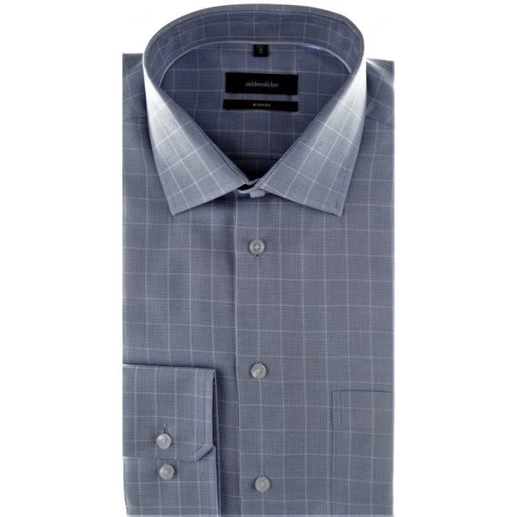 SEIDENSTICKER Blue Non Iron Cotton Check Shirt