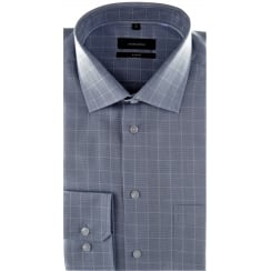 Blue Non Iron Cotton Check Shirt