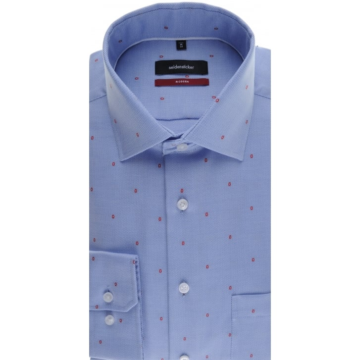 SEIDENSTICKER Blue Oxford Cotton Shirt with Red Spots