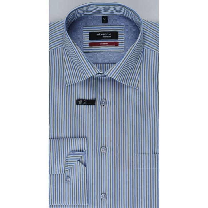 SEIDENSTICKER Green and Blue Splendesto Cotton Shirt
