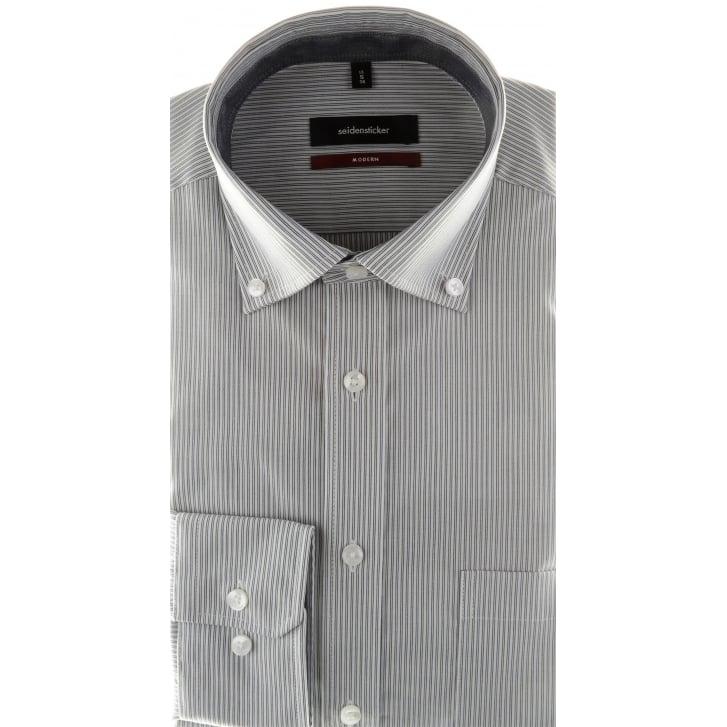 SEIDENSTICKER Grey Striped Shirt with Button Down Collar