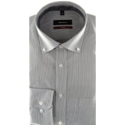Grey Striped Shirt with Button Down Collar