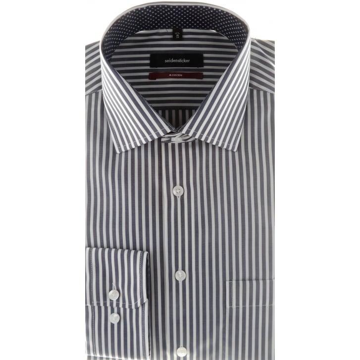 SEIDENSTICKER Navy and White Bengal Stripe Cotton Shirt