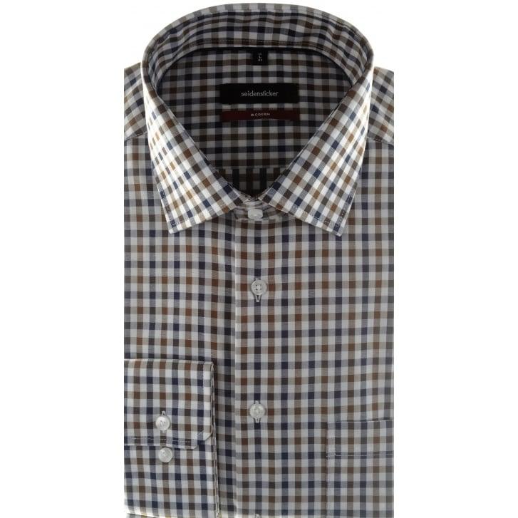 SEIDENSTICKER Non Iron Cotton Check Shirt in Brown or Green
