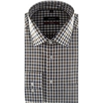 Non Iron Cotton Check Shirt in Brown or Green