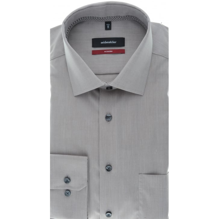 SEIDENSTICKER Plain Non Iron Cotton Light Brown Shirt