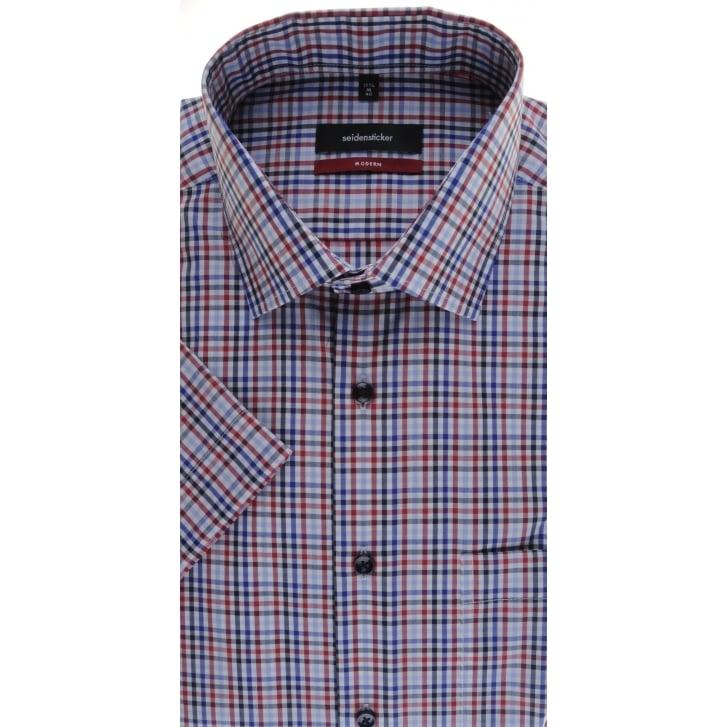SEIDENSTICKER Short Sleeved Red and Blue Gingham Cotton Shirt