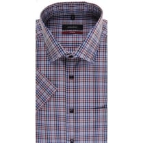 Short Sleeved Red and Blue Gingham Cotton Shirt