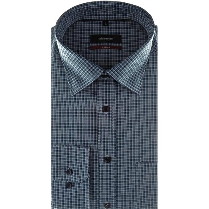 SEIDENSTICKER Small Check Shirt with Button Under Collar