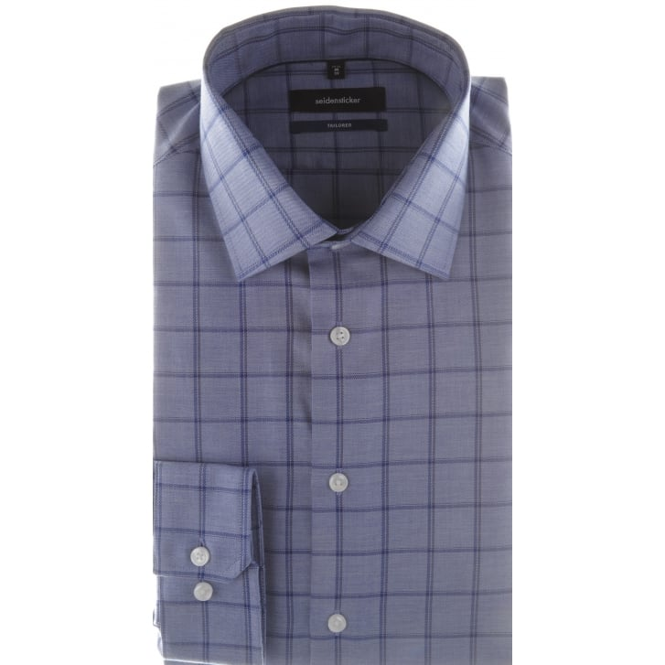 SEIDENSTICKER Tailored Non Iron Cotton Check Blue Shirt