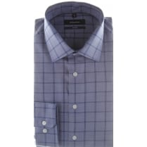 Tailored Non Iron Cotton Check Blue Shirt