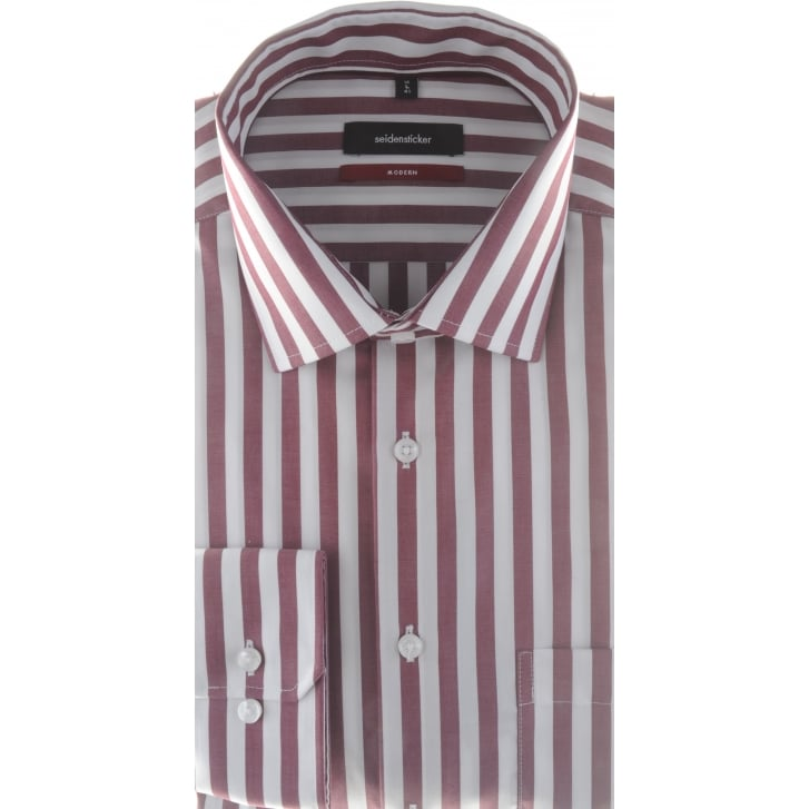 SEIDENSTICKER Wine Butchers Stripe Cotton Shirt