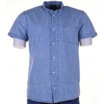 Short Sleeved Blue Denim Shirt